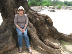 My mom next to the Tana River on a trip with me to Kenya
