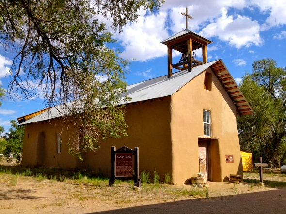 adobe church under the cottonwood trees